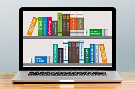 E-Learning-Bibliothek auf Laptop-Bildschirm